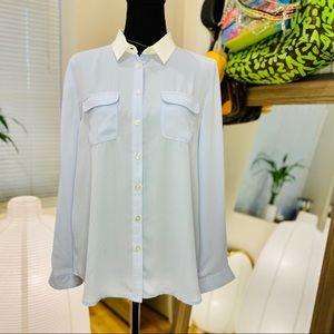 Ann Taylor Contrast Collar Button Down Shirt